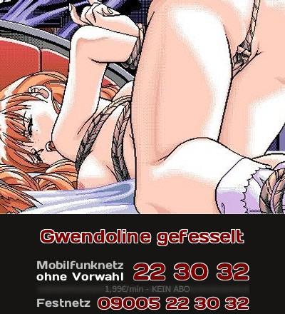 So könnte man sich die gefesselte Gwendoline im Anime vorstellen, die sich von hinten ficken lässt, bis die Ärzte kommen.