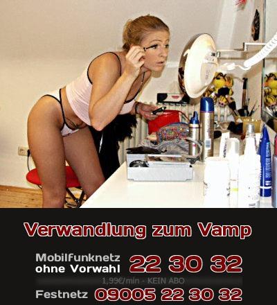 Ein biederes Mädchen verwandelt sich zu Karneval durch Schminke und Make-Up zu einem erotischen Vamp. Erlebe beim Telefonsex jeden Tag, wie ein schüchternes Mädchen zum erotischen Vamp wird.