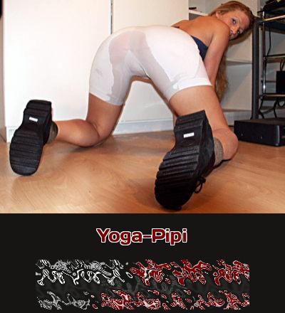 Stell Dir beim Telefonsex vor, eine Frau macht beim Yoga Pipi!